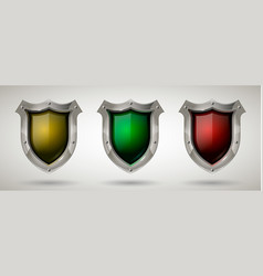 set of protective steel guard shield with safety vector image