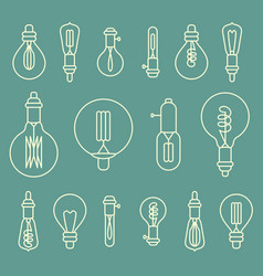 Set of retro stylized linear electric bulbs vector