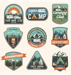 Set of summer camp badges concept for vector