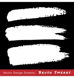 Set of White Hand Drawn Grunge Brush Smears vector image