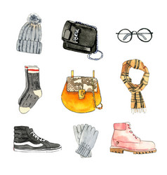 Set watercolor bag sneaker on white background vector