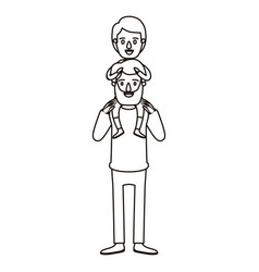 Silhouette caricature bearded father with boy on vector