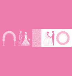silhouettes bride and groom and design vector image
