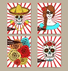 Sketch mexican dia de los muertos set vector