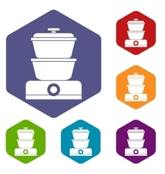 Steamer icons set vector image
