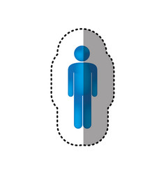 sticker 3d colorful pictogram man design vector image
