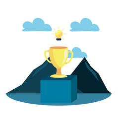 successful trophy cartoon vector image