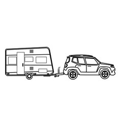 Suv car and trailer camping adventure travel vector