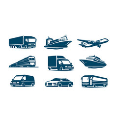 transport icon set transportation symbol vector image