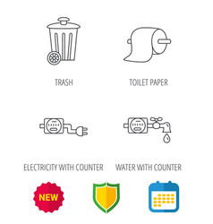 trash bin electricity and water counter icons vector image