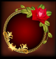 Vintage background frame with rose and gold vector