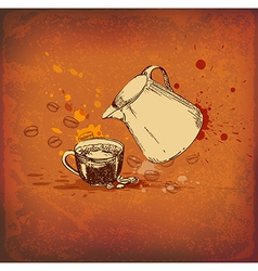 Vintage background with coffee pot vector image