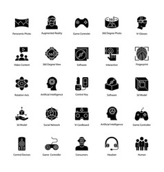 Virtual reality glyph icons vector