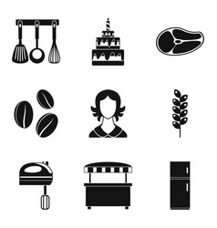 Wedding cake icons set simple style vector