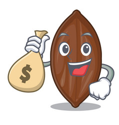 With money bag pecan nuts on a cartoon table vector