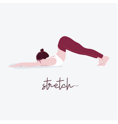 woman yoga with typography stretch flat female vector image