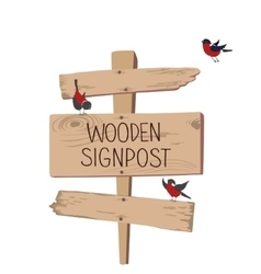 Wooden singpost with bullfinches vector