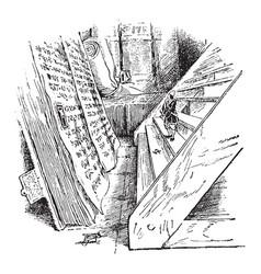 wooden steps vintage vector image