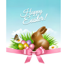 easter background with eggs and rabbit vector image vector image