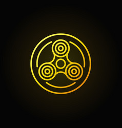 fidget spinner in circle yellow icon vector image vector image
