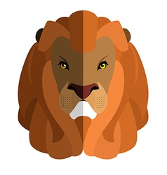 Lion Head flat style Large fluffy mane Ferocious vector image vector image