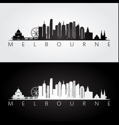 melbourne skyline and landmarks silhouette vector image