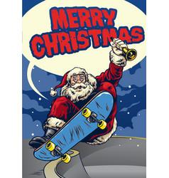 Santa claus playing skateboard greeting christmas vector