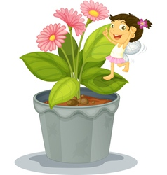 Angel on a plant vector image vector image