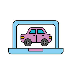 car in display laptop icon service diagnostic vector image
