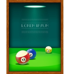 Cool billiard poster with colorful balls vector image vector image