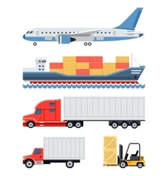 Freight transportation and delivery logistics flat vector image vector image