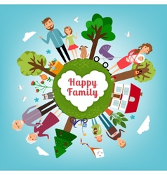 Happy family in all the earth vector image vector image