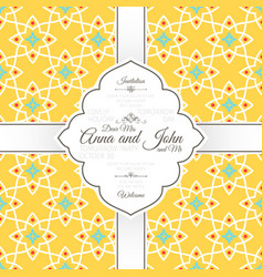 invitation card with islamic yellow pattern vector image vector image