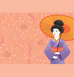 japanese geisha girl in kimono on pink pattern vector image