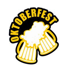 oktoberfest beer mugs clink logo drinking alcohol vector image