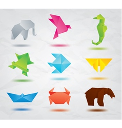 Origami Colored Animals vector image vector image