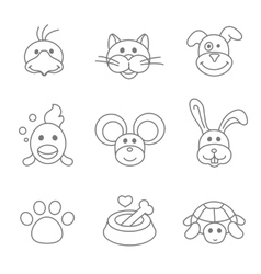Pets related icon set in thin line style vector image vector image