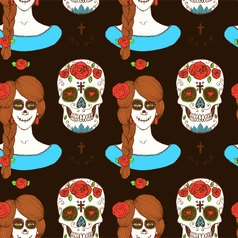 Sketch mexican skull and girl vector image
