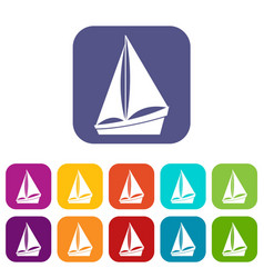 small yacht icons set vector image vector image