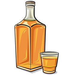 whiskey bottle with a glass vector image
