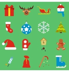 16 christmas flat icons set vector image