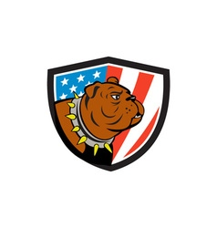 Bulldog Head USA Flag Crest Cartoon vector image vector image