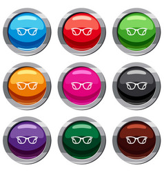 eyeglasses set 9 collection vector image vector image