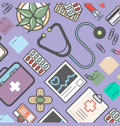 medicine background with medical equipment vector image