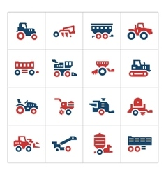 Set color icons of agricultural machinery vector image vector image