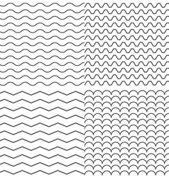 Set of Four Zigzag and Wave Simple Seamless vector image vector image