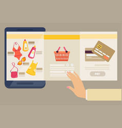 woman selecting clothes to purchase online vector image vector image