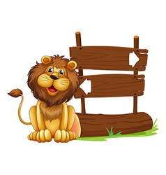 Cartoon Lion Signboard vector image vector image