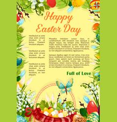 easter day egg hunt poster template design vector image