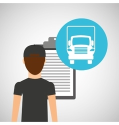 man delivery checking transportation logistic vector image